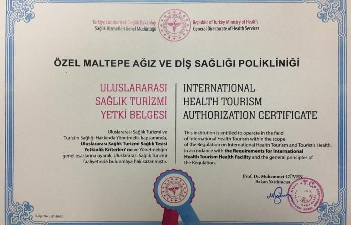 international health tourism certificate maltepe dental clinic