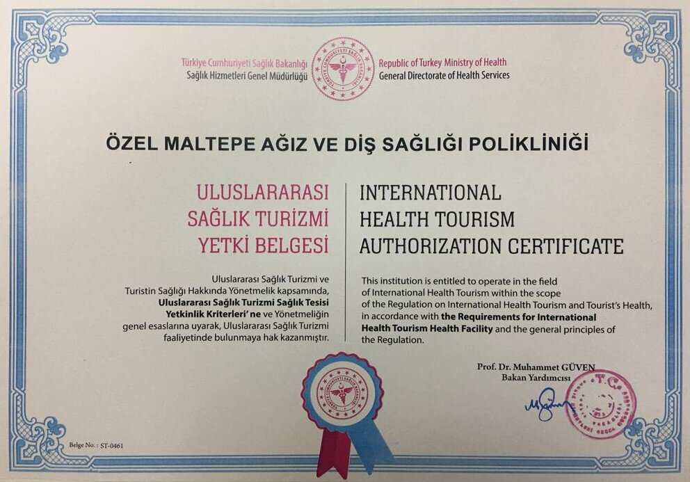 internationales gesundheitstourismus-zertifikat maltepe zahnklinik